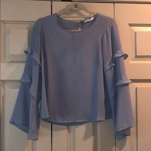 Light Blue Top with Sleeve Detail